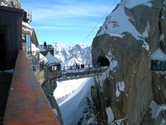 Walkway on Aiguille Du Midi, France. Would love to go stargazing at the Pic du Midi observatory.