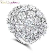 Elegantní královna Svatba Jemné šperky Banquet Party Rings intarzie CZ Diamond Pozlacené módní Charm Ring Luxury Flower příslušenství (Čína (pevninská část))