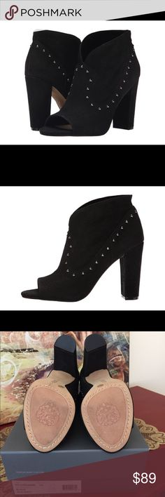 BEAUTIFUL VINCE CAMUTO BOOTIES❣ Might as well be BRAND NEW.  Had on max 2 hours just in&out of car !!    A dynamically paneled open-toe bootie is styled with gunmetal studs and set on a wrapped, chunky heel for a trend-right update to your wardrobe.  ✔️Pull-on style ✔️Silk goat (suede) leather/leather upper ✔️Imported Vince Camuto Shoes Ankle Boots & Booties