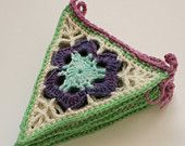 Items similar to Crochet Bunting, Granny Triangle Pennants, Purple, Green and Blue on Etsy