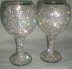 Custom designed handmade pair of wine glass, wedding, bride, groom, Swarovski, Czech rhinestones by Arzus Style on Wanelo