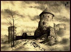Castle ruins by Małgorzata Jaworska, made in DOMIN Radom drawing school / Ruiny zamku wykonane przez Małgorzatę Jaworską w szkole rysunku DOMIN Radom  https://www.facebook.com/DominRadom