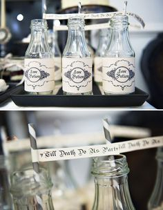 This might be fun to play with as a signature drink name...Vintage-Gothic Wedding Dessert Table // Hostess with the Mostess®