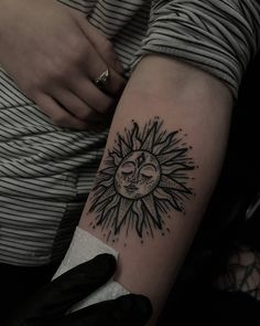 Dot Work Sun Tattoo On Sleeve
