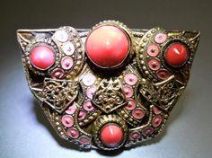 Czechoslovakia Coral Glass Dress Clip, Brass Filigree, Art Deco Pot Metal, Vintage-Antique