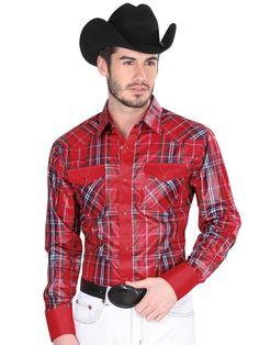 33911 Camisa Vaquera Manga Larga De Hombre 'El General', 100% Polyester - Red