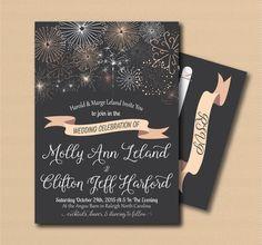Printable Fireworks Wedding Invitation and RSVP Print by NcJoli