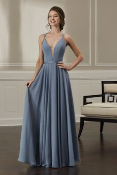 bb39bc14659 Jacquelin Bridals Canada - 22889 - Bridesmaids - This chiffon dress  features a plunging front neckline with a nude tulle center front insert.