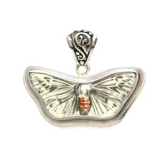 Broken China Jewelry Portmeirion Botanic Garden Silver Grey Moth Sterling Free Form Pendant