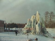 Veal's Ice Tree in late1960's. Pictured Vierl Veal, Ice Tree creator.