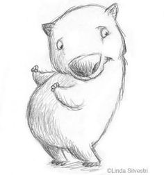 wombat illustration [although I personally might have thought it was a pig at first glance] Happy Animals, Cute Animals, Storyboard, Cute Wombat, Cartoon Sketches, Cartoon Illustrations, Quokka, Hamster, Australian Animals
