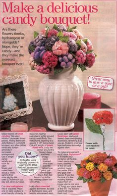 """Candy bouquet, would be a pretty DIY centerpiece for a ceremony, giving each girl a """"flower"""" at the end of the night"""