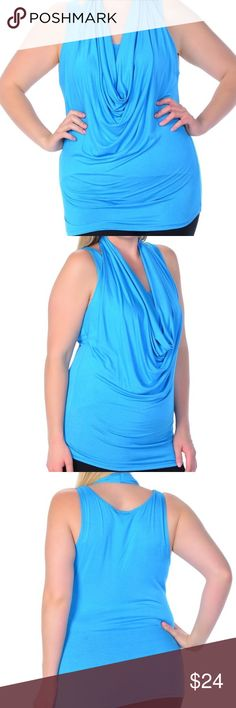 🆕 PLUS Drape Sleeveless Top Turquoise Stretchy and stylish with the drape neck detail. 97% Rayon and 3% Spandex. Also available in tangerine, gray, black, white and lilac. Bellino Clothing Tops Tank Tops
