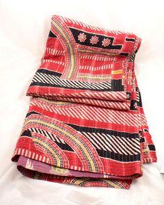 Vintage Indian Kantha 100% Cotton Floral Throw Bedspread Quilt Handmade VKT25