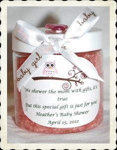 Our bath salts make an adorable shower favor and we will customize to any color. The labels can be customized to the baby's gender and baby shower theme. Bath salts come in lavender, eucalyptus spearm (Bottle Gift Bath Salts) Baby Shower Gift List, Idee Baby Shower, Baby Shower Gifts For Guests, Bebe Shower, Baby Shower Favors, Baby Shower Games, Baby Shower Parties, Baby Boy Shower, Baby Powder