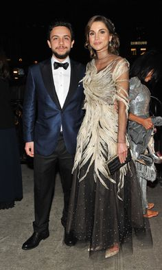 Belle of the ball! Queen Rania of Jordan was joined by her son Crown Prince Hussein, 21, at the Met Gala.