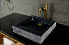 "16""x16"" Black Granite Stone Vessel Sink - BORNEO SHADOW"