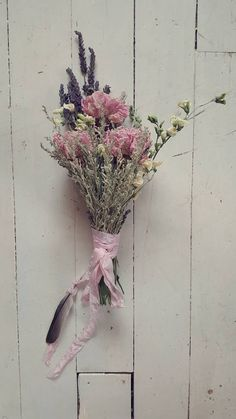 dried peony,sage,lavender,sweet pea bouquet...with old fashion ribbon & feather...fadedwest.com