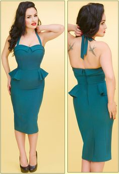 Stop Staring Teal Paige Dress. Sexy dress features a sweetheart neckline, adjustable halter straps, flap at bustline, fitted bodice, a waist peplum, pencil skirt and back zip