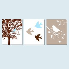 Would match if we don't do western theme - Modern Bird Trio - Set of Three 8x10 Prints - Modern Nursery Decor - Chocolate Brown, Baby Blue, Taupe, and More. $55.00, via Etsy. Bird Nursery, Nursery Canvas, Nursery Art, Nursery Decor, Nursery Ideas, Wall Decor, Wall Art, Coral Nursery, Bird Canvas