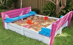 DIY Backyard Sandbox With Seating - Upcycled From Pallets! - Giddy Upcycled- has link to instructions