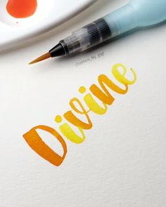 Divine⭐ So smooth, so divine. Artist Credit: smooth, so divine. Brush Pen Calligraphy, Calligraphy Video, Calligraphy Drawing, Watercolor Lettering, Calligraphy Letters, Caligraphy Alphabet, Hand Lettering Tutorial, Hand Lettering Fonts, Creative Lettering