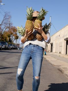 """our web guru Jen's denim soulmate: the 9"""" high-rise skinny crop jeans, worn here with the brownstone side-button sweater + westlight button-down shirt."""