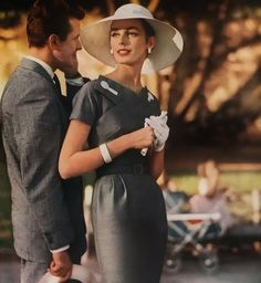 Elegantly beautiful grey and white afternoon/early evening attire. 1950's