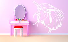 Wall Room Decor Art Vinyl Sticker Mural Unicorn Head Horse Horn Magic Tale Girls Bedroom Nursery AS169