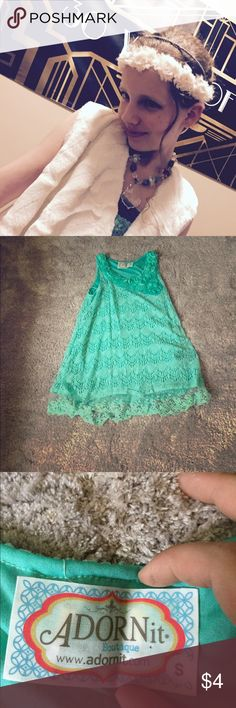 Sea green blue dress A teal dress with flowers on the neck line and lace on the bottom Dresses Midi