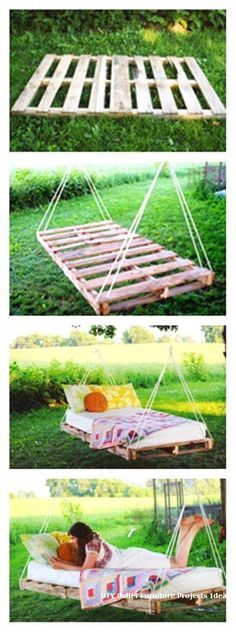 DIY PALLET SWING BED I will have this in my yard someday We are want to say than.Thanks for this post.DIY PALLET SWING BED I will have this in my yard someday We are want to say thanks if you like to share this post to anot# bed Outdoor Projects, Home Projects, Pallet Swing Beds, Bench Swing, Diy Pallet Bed, Pallet House, Pallet Daybed, Pallet Headboards, Home Decor Ideas