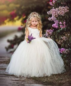 Emmaline Ivory Lace Ball Gown Flower Girl Dress Gown