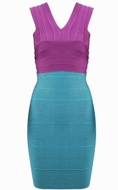 Herve Leger outlet V Neck Two-tone Bandage Dress purple blue