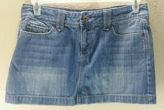 Aeropostale Micro Mini Skirt Denim Jean Sandblasted Juniors Women's Size 9/10 #Aeropostale #Mini