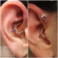 Completely unique custom set we had the pleasure of helping Danielle make from our friends at bvla. Rose gold, amethyst and mercury mist for a stunning combination (at Scarab Body Arts) Ear Jewelry, Crystal Jewelry, Body Jewelry, Tragus Jewelry, Cute Ear Piercings, Body Piercings, Daith Piercing, Septum, Piercing For Migraine Relief