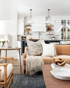 Boho Living Room, Home And Living, Room And Board Living Room, Living Room Pillows, Neutral Living Rooms, Living Room And Kitchen Together, Living Room Decor Lights, Neutral Couch, Kitchen Family Rooms