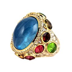 Pietra Dura Ring Amedeo in 18K yellow gold and white gold rhodium hammered silver, cabochon 33 carat aquamarine, tourmaline and citrine colored,