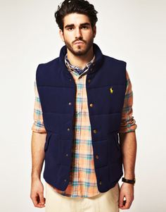 Fleece Plaid-Lined Polo Vest. NEED. NEED. NEED.
