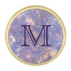 #monogrammed - #Impatient Fashion | Monogram Purple Gold Splatter Gold Finish Lapel Pin