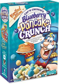 Official Site for Cap'n Crunch © Blueberry Crunch, Blueberry Pancakes, Crunch Cereal, Cap'n Crunch, Cute Food, Yummy Food, Best Cereal, Cornflakes, Bistro Food