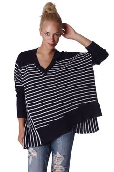 Q2 Navy Oversized Striped Sweater
