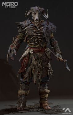 Metro Exodus - Children of the Forest / game Dmitry Osipenko Fantasy Character Design, Character Inspiration, Character Art, Viking Character, Fantasy Armor, Dark Fantasy, Armor Concept, Concept Art, Larp