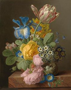 Jan Frans van Dael, 1820. A still life of roses, a tulip, an iris, morning glory, apple blossom, harebells, auriculas and narcissi in a vase on a stone ledge, with a bird's nest. Oil on canvas, 40.5 × 32.5 cm.