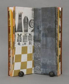 Mysterious by Laura Wait - One of the unique books in a series inspired by chess and the war strategy of Sun Tzu. | Mixed media: Painting and handwriting, collographs, hand stamps based on the chess sets of May Ray and Duchamp, and my own eight pawns. #artsts_book #book_arts #chess #strategy