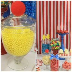 CARNIVAL THEMED BIRTHDAY PARTY/carnival-circus-theme-first-birthday-party-dessert-table-cake-lolly-buffet