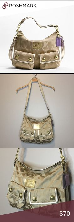 """Coach Poppy Signature Sateen Pocket Hobo Like new Coach Poppy Signature Sateen Pocket Hobo purse in brass/Khaki/Gold.  Handle: 16.75"""", strap: 37.5"""".  Approximate measure: 13.75""""(L) x 11""""(H) x 4.25""""(W) Coach Bags Hobos"""
