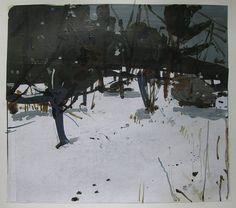 Paisaje de invierno Original de jardín con respaldo, 31 de enero, Collage de pintura sobre papel, Stooshinoff