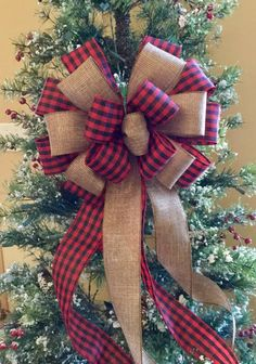 Best 11 Red Buffalo check plaid Layered with chocolate edged Burlap look ribbon wide bow Tree Topper wedding pew or large – SkillOfKing. Burlap Christmas Ornaments, Christmas Tree Bows, Christmas Tree Decorations, Christmas Holidays, Plaid Christmas, Christmas 2019, Xmas Tree Toppers, Diy Tree Topper, Diy Ribbon