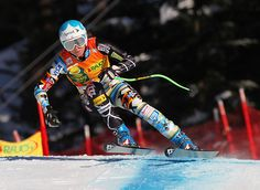 Julia Mancuso propels to a third place finish in the Women's Super G at Lake Louise in Alberta, Canada.
