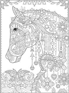 Adult Coloring Book: Stress Relieving Patterns Inspirational Adult Coloring Book Cats Birds Flowers and butterflies Horse Coloring Pages, Cat Coloring Page, Printable Adult Coloring Pages, Free Coloring, Coloring Sheets, Coloring Books, Adult Colouring Pages Free, Coloring Pages For Grown Ups, Colorful Pictures